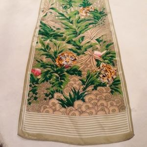 Vintage Oblong Silk Jungle Tiger Print Scarf